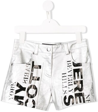 Jeremy Scott Junior logo print shorts