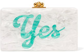 Edie Parker Jean Glittered Acrylic Box Clutch - White