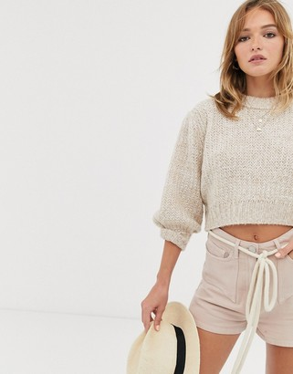 Asos Design DESIGN chunky cropped jumper with puff sleeve-Beige