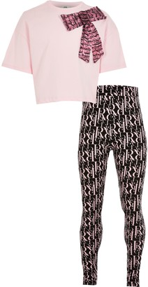 River Island Girls Pink organza bow t-shirt outfit