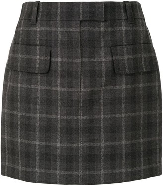 Vera Wang High-Waisted Check Skirt