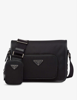 Prada Logo-patch recycled-nylon shoulder bag