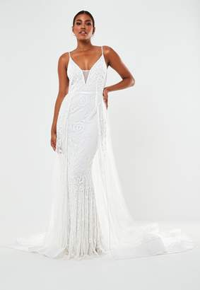 Missguided Cream Hand Beaded Cami Strap Wedding Dress