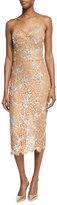 Michael Kors Crystal-Encrusted Floral-Lace Slip Dress, Suntan