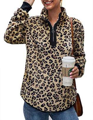 ZKHOECR Comfy Clothes for Women Work Girls V Collar Retro Color Block T Shirts Long Sleeve Relaxed Fit Clothing Round Bottom Soft Knit Cute Tunics Blouse Oversized Unique Top Leopard Brown XL