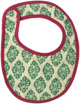 Pink Chicken Reversible Ikat Bib (Baby) - Floral/Emerald Medallion - One Size