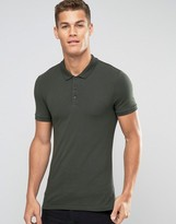 Asos Extreme Muscle Jersey Polo Shirt In Green