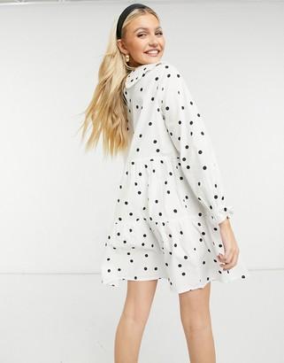 New Look poplin mini dress with collar in white polka dot