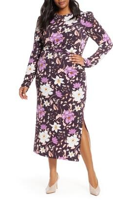 Brinker & Eliza Floral Long Sleeve Midi Dress