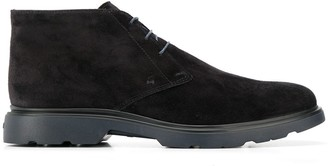 Hogan Lace-Up Suede Ankle Boots