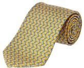 Brooks Brothers Yellow Motif Print Silk Tie.