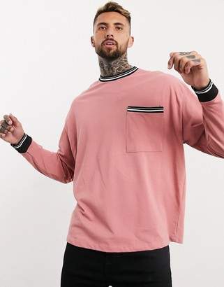 ASOS DESIGN oversized long-sleeved pique T-shirt with tipping and pocket in pink