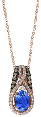 Effy 14K Rose Gold Oval Tanzanite Brown and White Diamond Pendant Necklace