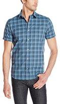 Calvin Klein Men's Yarn Dye Mini Fine Check Short Sleeve Button Down Shirt
