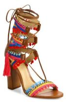 Schutz Calla Jeweled Leather Lace-Up Block-Heel Sandals