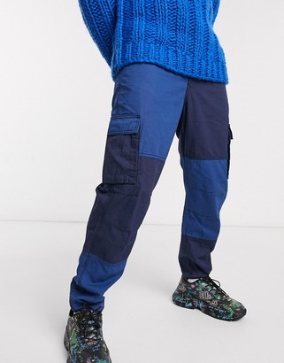 Mennace utility cut and sew cargo pant in navy