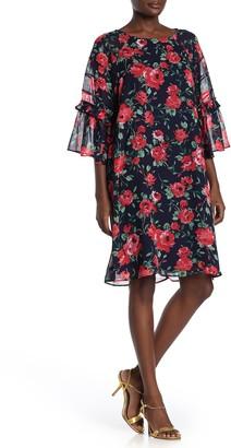 Nina Leonard Jewel Neck Elbow Length Raglan Sleeve Dress