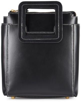 STAUD Shirley mini black leather top handle bag