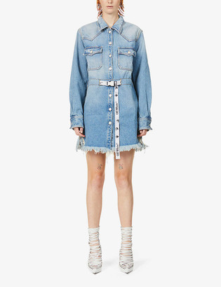 Off-White Cornelly belted logo-print denim mini dress