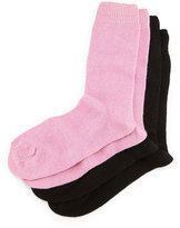 Neiman Marcus Cashmere-Blend Two-Pack Socks, Black/Pink
