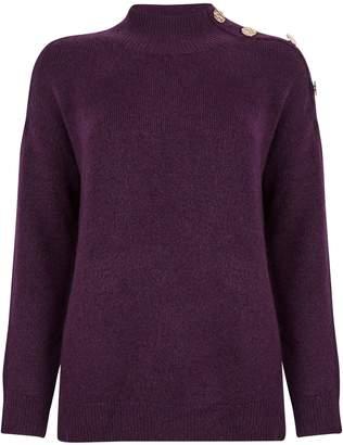 Dorothy Perkins Womens Purple Button Shoulder Jumper, Purple