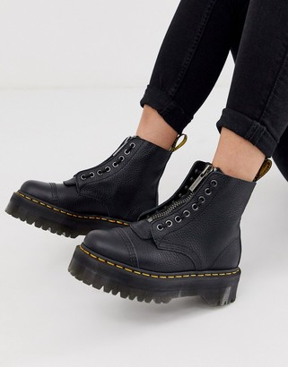Dr. Martens Sinclair flatform zip leather boots in tumbled black