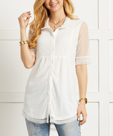 Suzanne Betro Women's Tunics 101WHITE - White Sheer-Sleeve Smocked-Accent Button-Up Top - Women & Plus