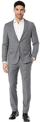 Cole Haan Slim Fit Plaid Suit (Grey Plaid) Men's Suits Sets