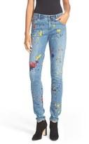 Alice + Olivia Women's Joana Splatter Paint Print Skinny Jeans