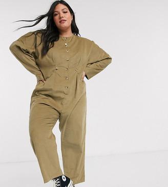 Asos DESIGN Curve cord relaxed boilersuit in khaki
