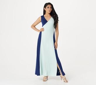 Du Jour Petite Sleeveless Color-Blocked Knit Maxi Dress