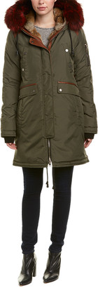 Nicole Benisti Brera Leather-Trim Down Coat
