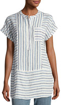 Vince Camuto Short-Sleeve Multi-Stripe Linen Top