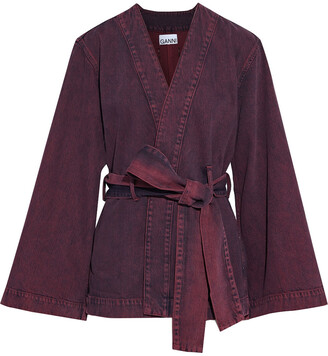 Ganni Belted Acid-wash Denim Kimono