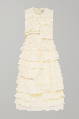 MONCLER GENIUS + 4 Simone Rocha Embellished Ruffled Lace-trimmed Broderie Anglaise Shell Dress - Ivory