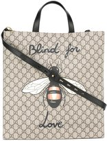 Gucci bee print soft GG Supreme tote - men - Cotton/Leather/Polyurethane - One Size