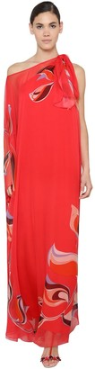 Emilio Pucci One-shoulder Silk Chiffon Caftan Dress