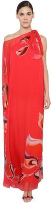 Emilio Pucci One-Shoulder Silk Chiffon Caftan Dress