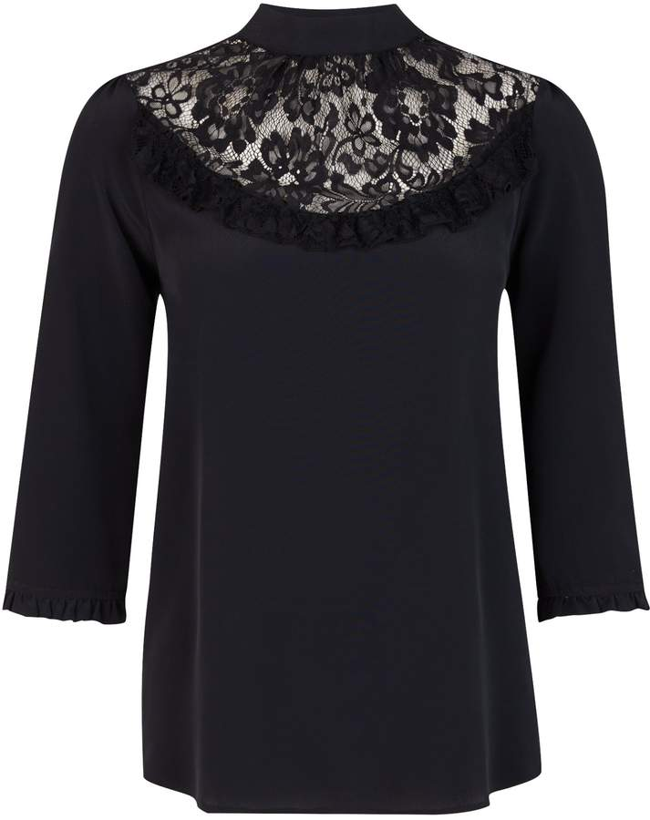 c038f39997fc53 Black Lace Top Yoke - ShopStyle UK
