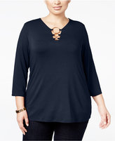 INC International Concepts Plus Size Hardware-Detail Top, Only at Macy's