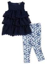 Calvin Klein Baby Girl's Two-Piece Frilled Tunic and Leggings Set