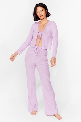 Nasty Gal Womens Say It Lounger Tie Cardigan and Wide-Leg Pants Set - Lilac