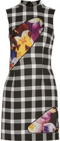 Christopher Kane Mesh And Satin-paneled Gingham Wool-blend Mini Dress - Black