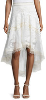 Alexis Belle Embroidered High-Low Skirt, Pearl White