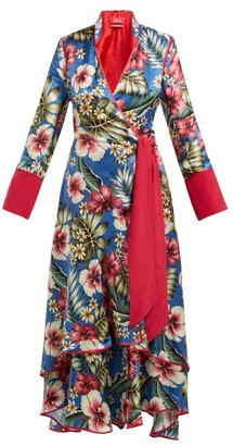 F.R.S For Restless Sleepers Hydros Floral-print Satin Wrap Dress - Blue Multi