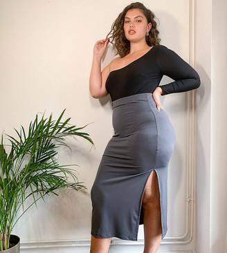 Club L London Plus slinky maxi skirt in charcoal