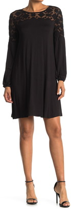 Catherine Malandrino Lace Yoke Long Sleeve Shift Dress