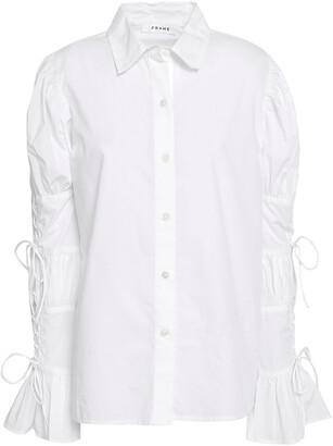 Frame Bow-embellished Cotton-poplin Shirt