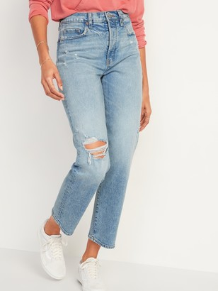 Old Navy Extra High-Waisted Sky-Hi Straight Button-Fly Ripped Jeans for Women