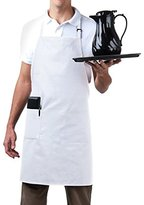 Bib Aprons-MHF Brand-1 Piece-new Spun Poly-Commercial Restaurant Kitchen- Adjustable-Full length-3 Pockets (White)